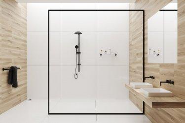 Modernes Badezimmer mit gläserner Regendusche zwei Waschbecken