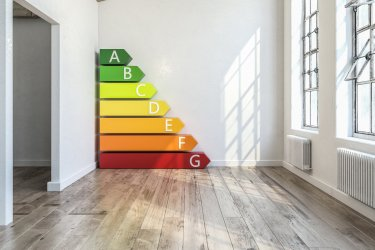 Die Energiebalken eines Energielabels in einem Wohnraum